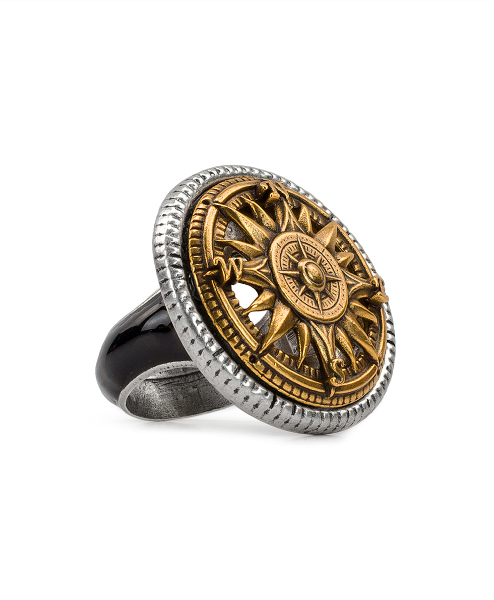 Silver Ox Compass Enamel Ring