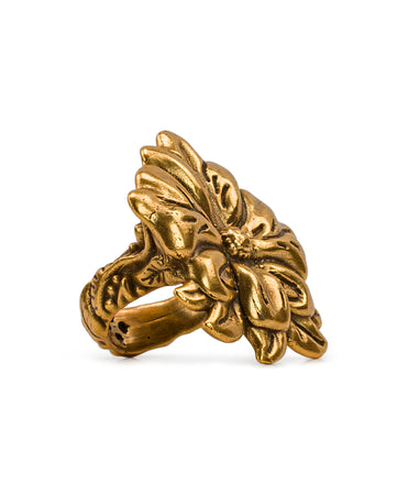 Tooled Flower Russian Gold Ring
