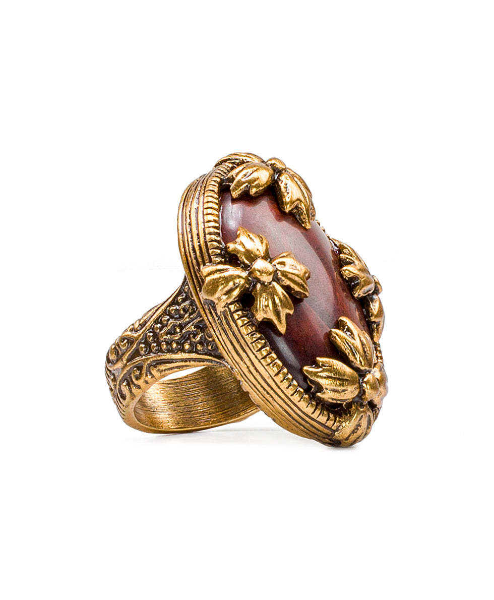 Floret Red Tiger's Eye Ring