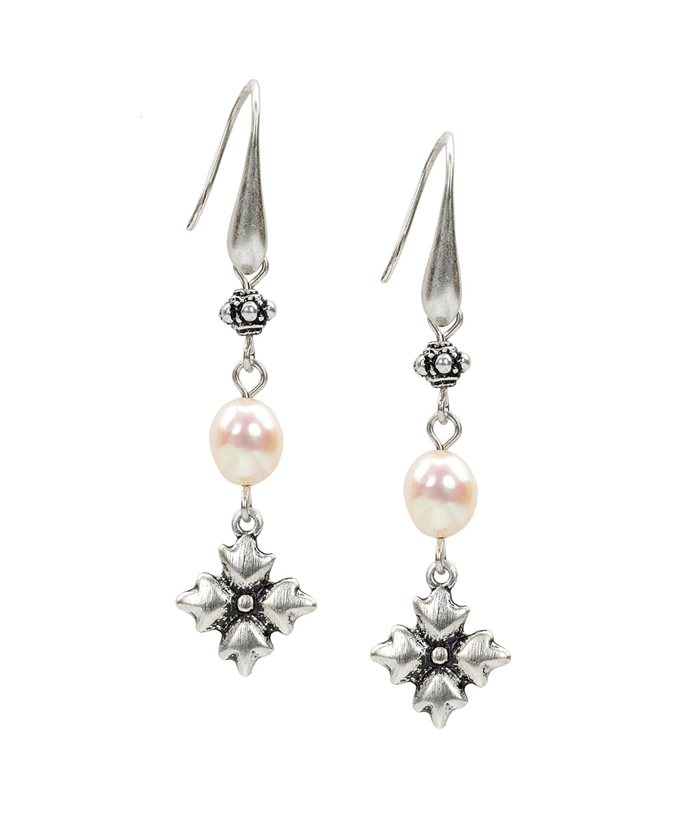 Mini Floret Pearl Dangle Earrings