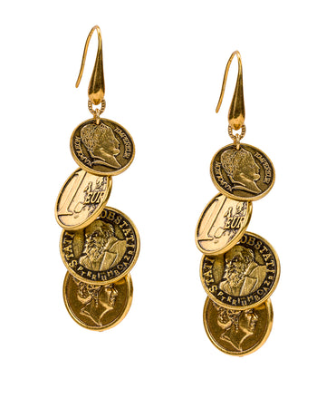 Multi Coin Dangle - World Coin - Russian Gold
