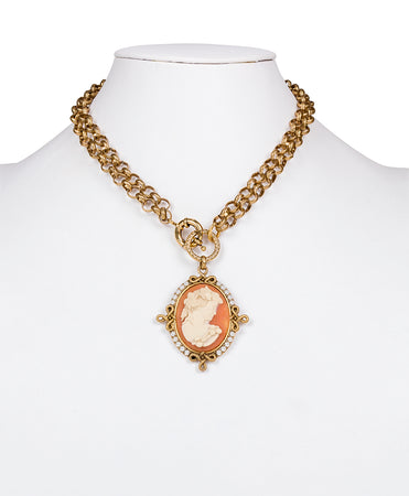Cameo Medallion Necklace - Russian Gold