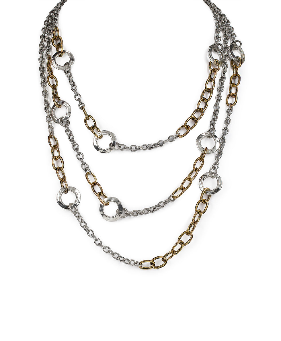 Triple Chain Necklace - Hammered Link 2