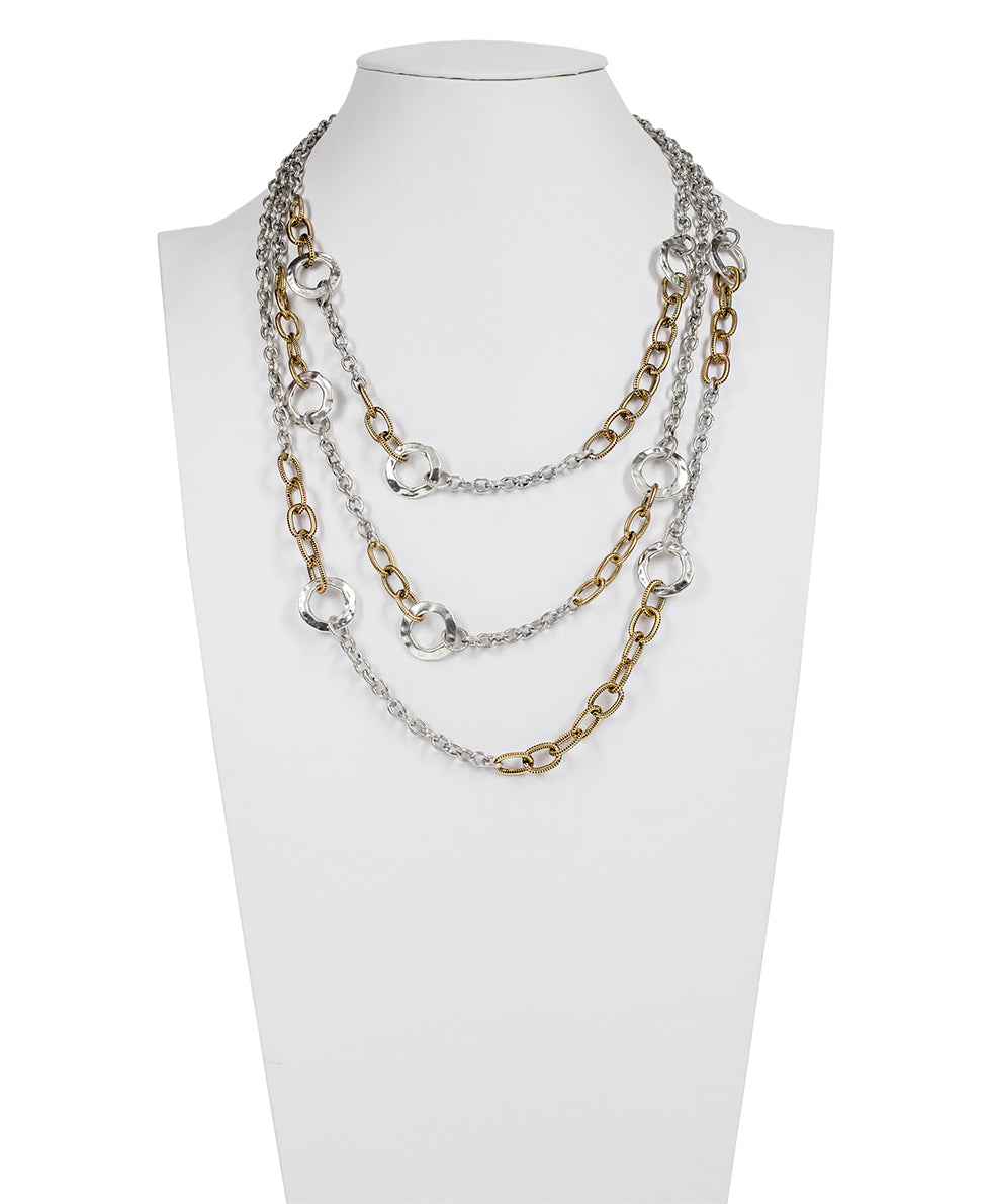 Triple Chain Necklace - Hammered Link