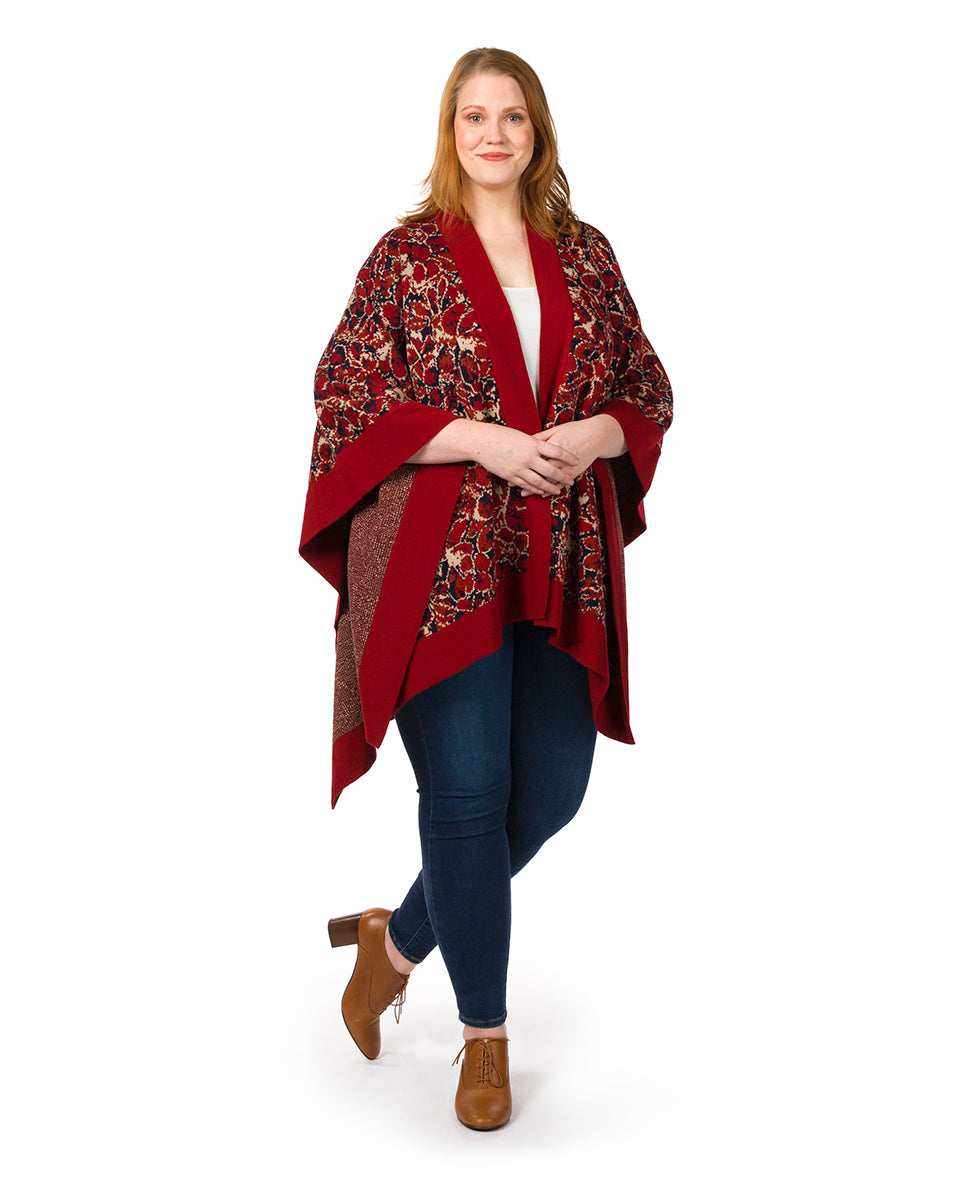 Short Shawl - Scarlet Bloom