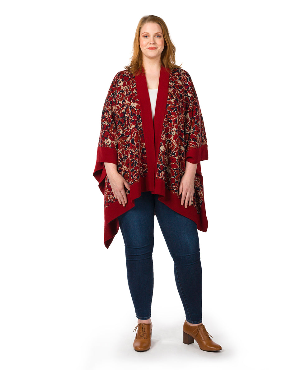 Short Shawl - Scarlet Bloom 2