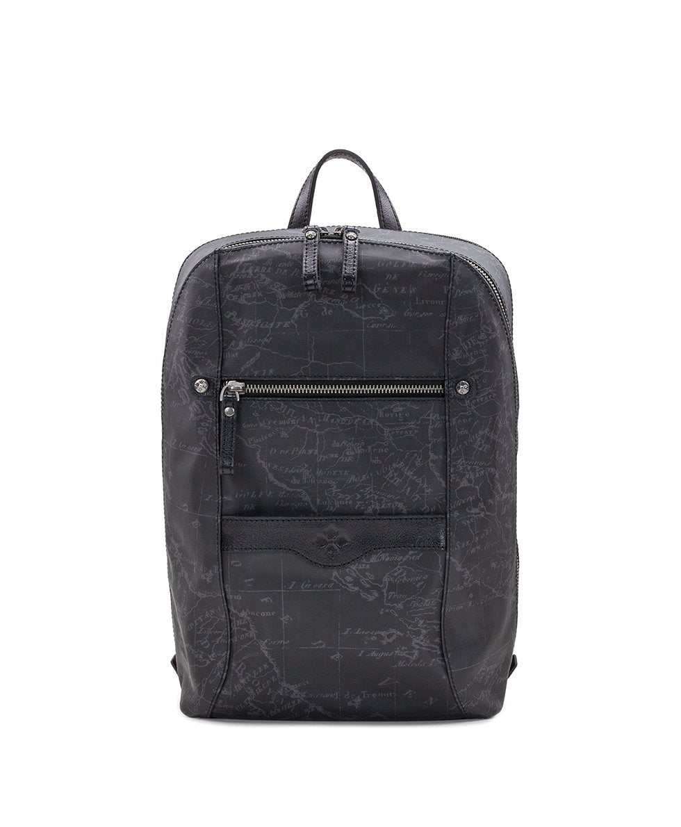 Pontori Backpack - Patina Coated Linen Canvas Black Map