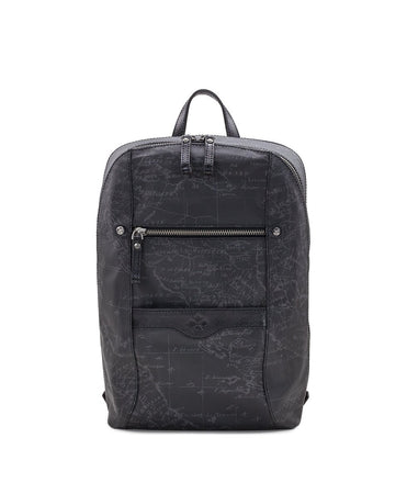 Pontori Backpack - Patina Coated Linen Canvas Black Map - Pontori Backpack - Patina Coated Linen Canvas Black Map