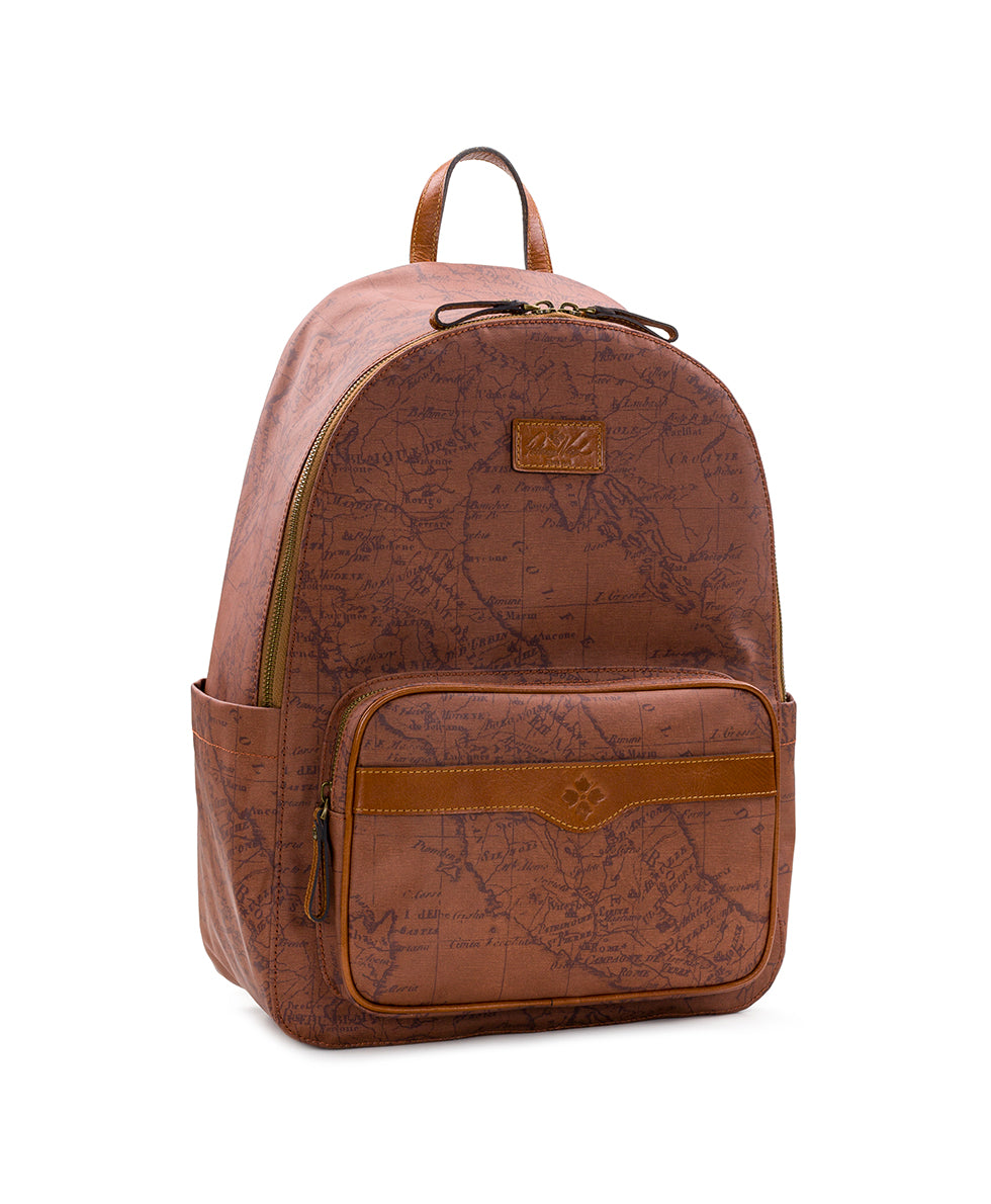 Genoa Backpack - Patina Coated Canvas Signature Map 3