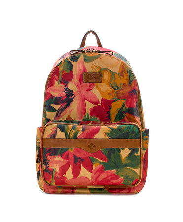 Genoa Backpack - Patina Coated Canvas Spring Multi - Genoa Backpack - Patina Coated Canvas Spring Multi