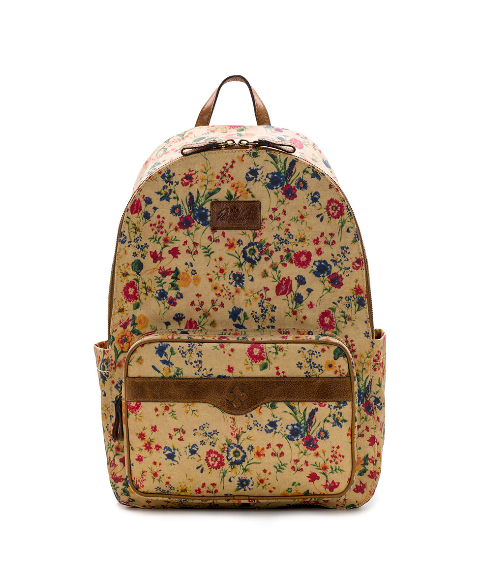 Genoa Backpack - Patina Coated Linen Canvas Prairie Rose