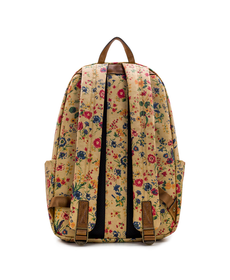 Genoa Backpack - Patina Coated Linen Canvas Prairie Rose 2