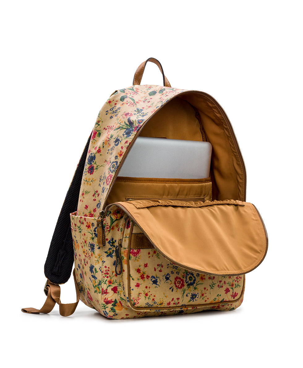 Genoa Backpack - Patina Coated Linen Canvas Prairie Rose 3