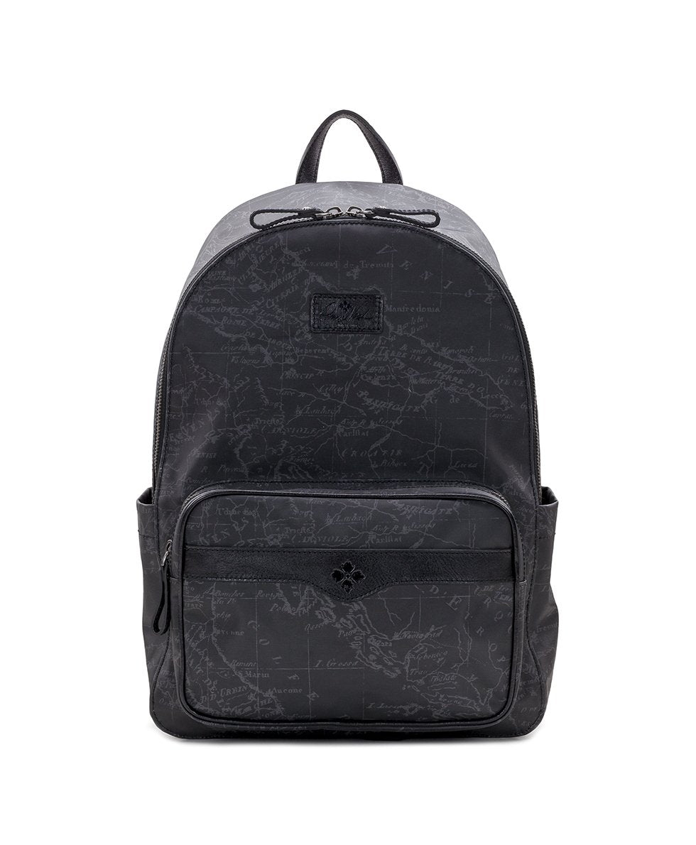 Genoa Backpack - Patina Coated Linen Canvas Black Map