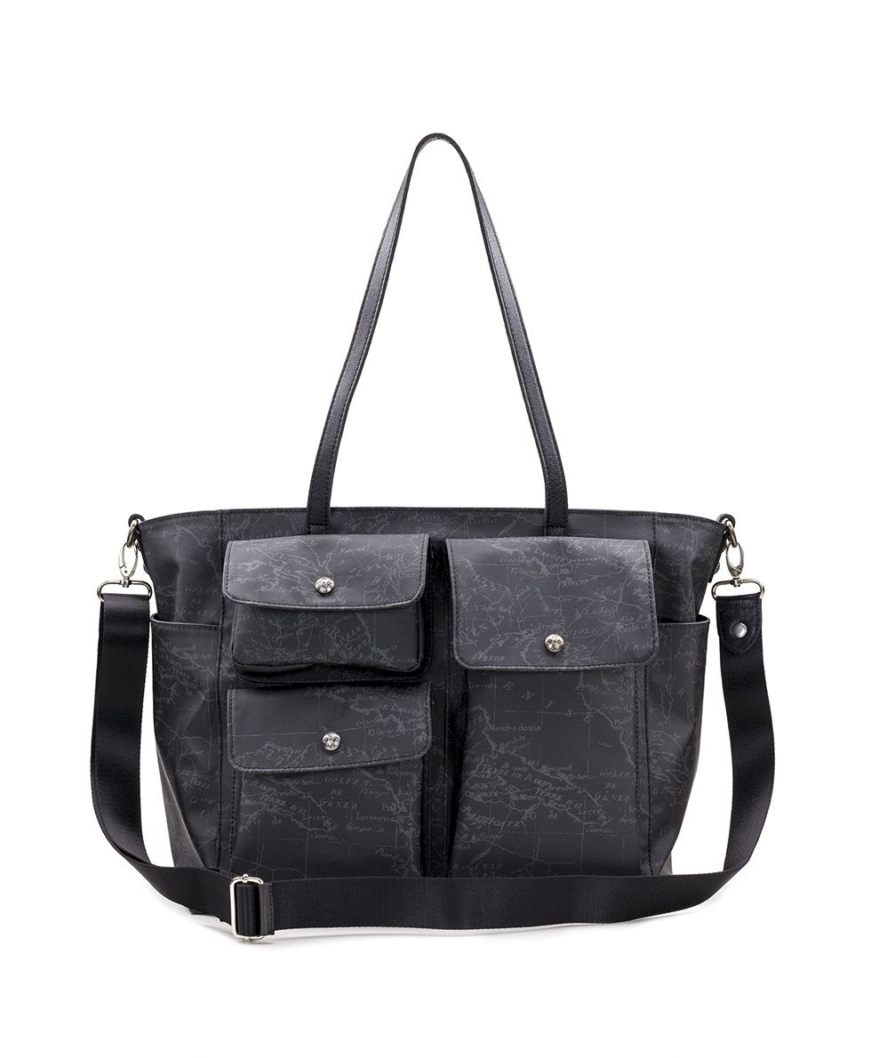 Sorlana Tote - Patina Coated Linen Canvas Black Map