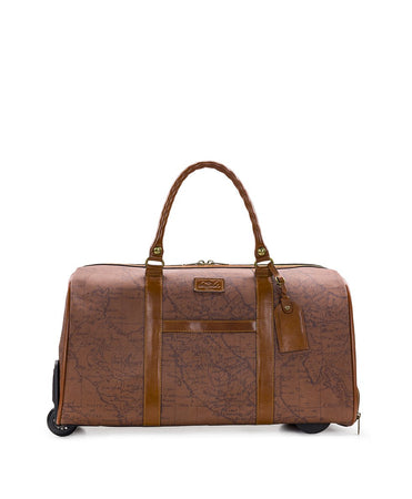 Avola Trolley Duffel - Patina Coated Canvas Signature Map - Avola Trolley Duffel - Patina Coated Canvas Signature Map
