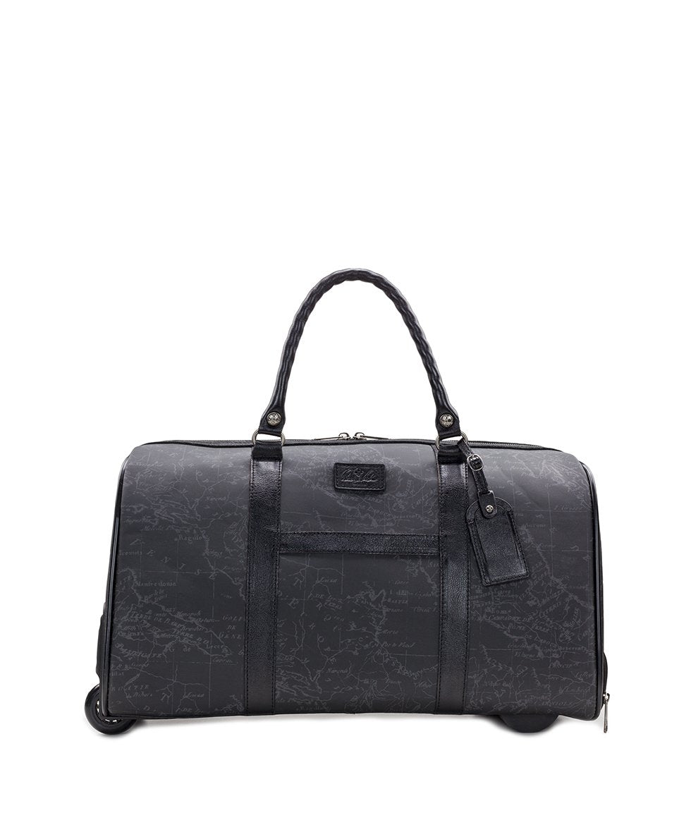 Avola Trolley Duffel - Patina Coated Linen Canvas Black Map