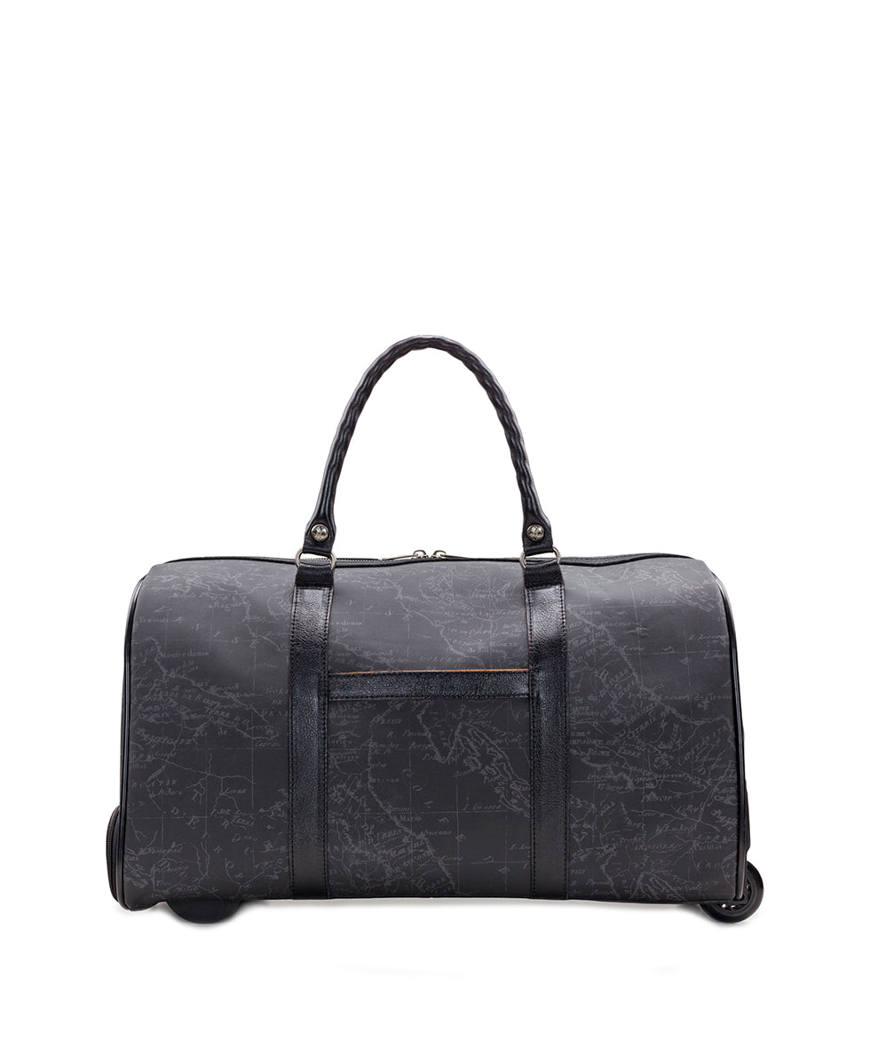 Avola Trolley Duffel - Patina Coated Linen Canvas Black Map 2