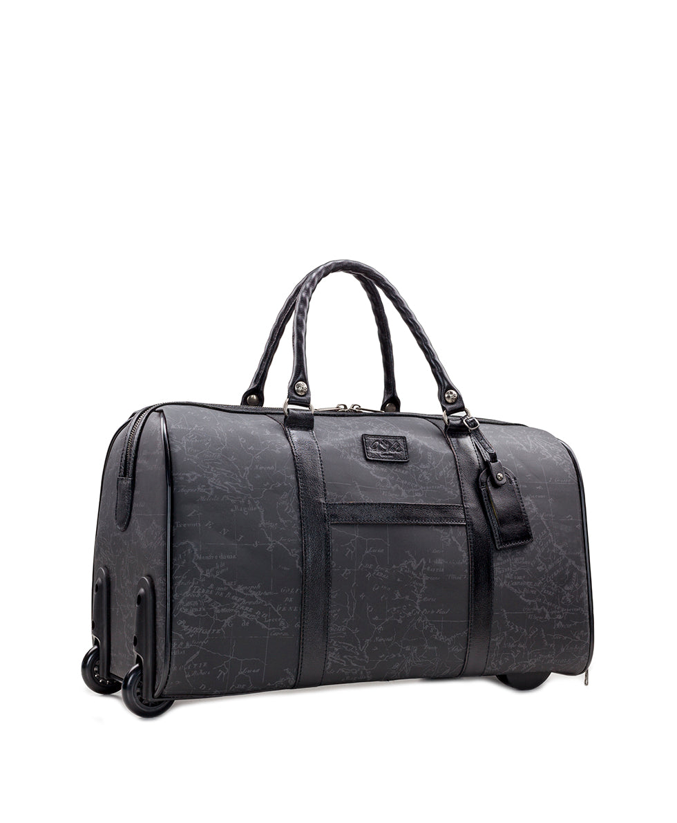 Avola Trolley Duffel - Patina Coated Linen Canvas Black Map 3