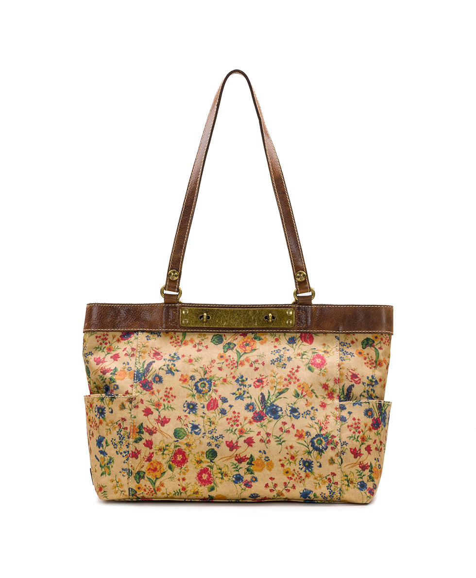 Ria Tote - Patina Coated Linen Canvas Prairie Rose