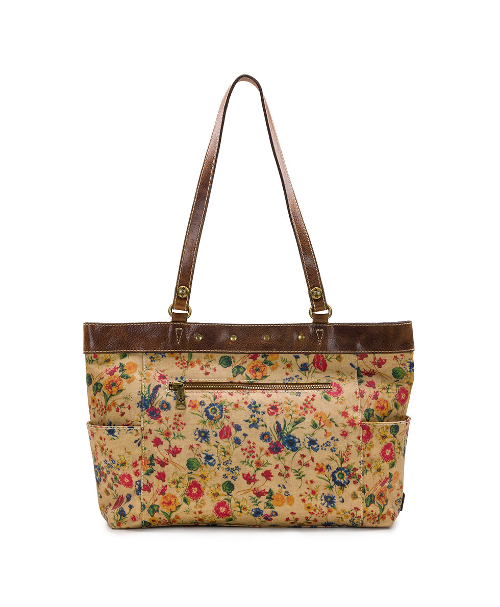 Ria Tote - Patina Coated Linen Canvas Prairie Rose 2