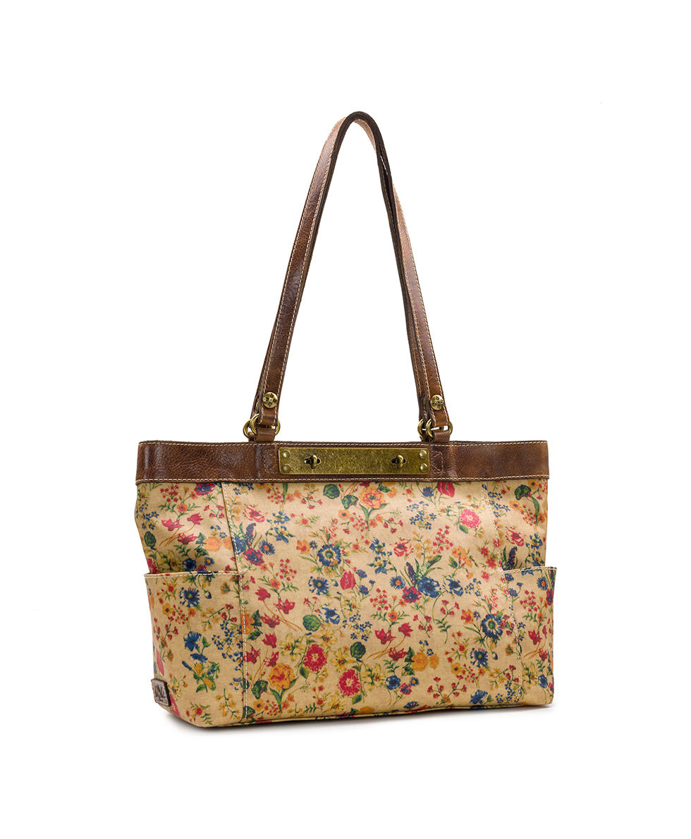 Ria Tote - Patina Coated Linen Canvas Prairie Rose 3