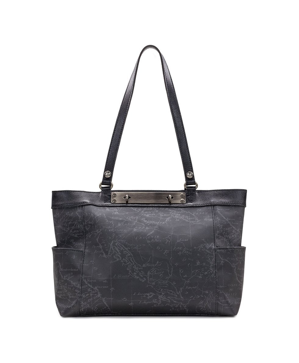 Ria Tote - Patina Coated Linen Canvas Black Map