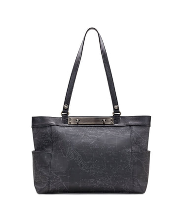 Ria Tote - Patina Coated Linen Canvas Black Map - Ria Tote - Patina Coated Linen Canvas Black Map