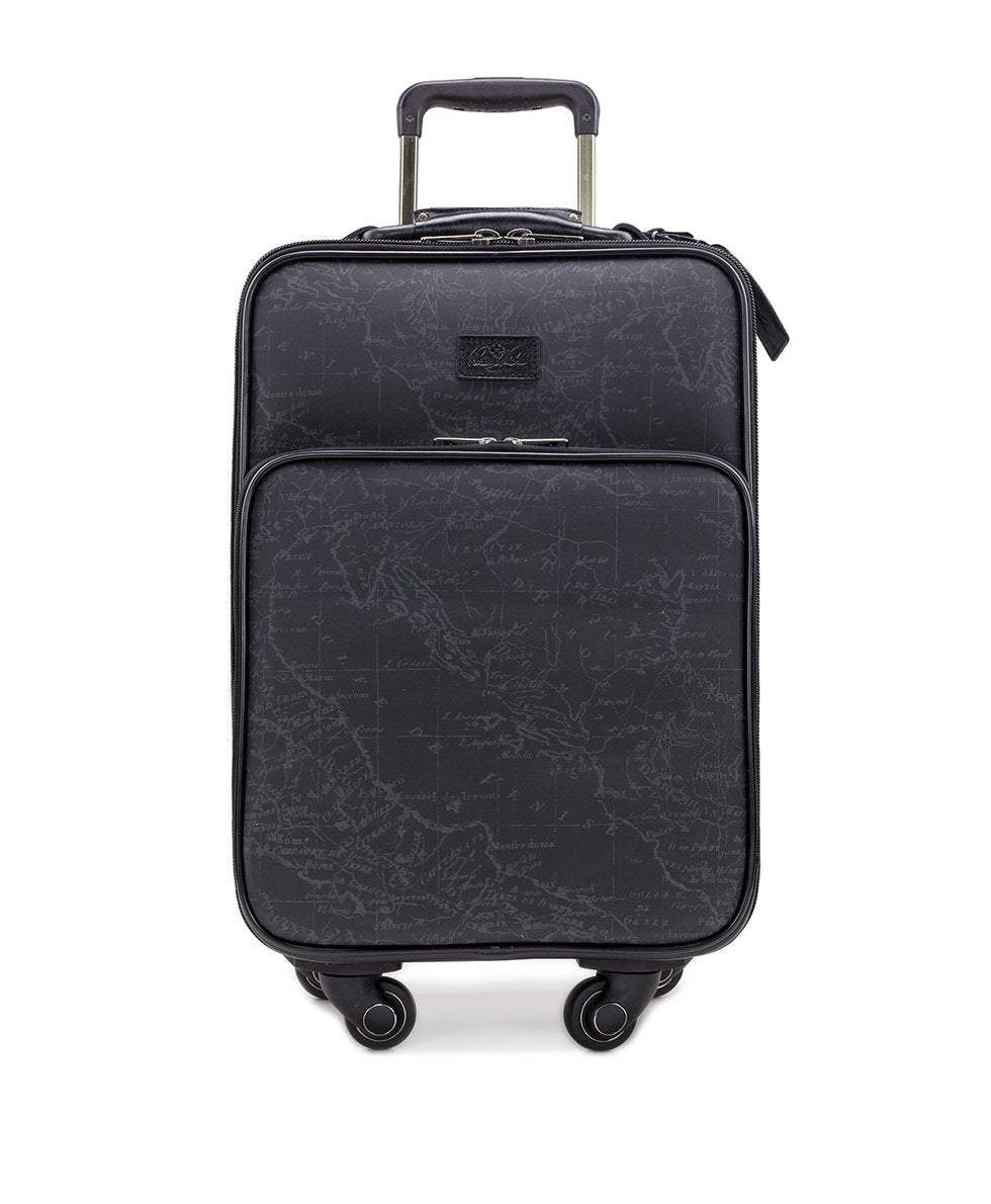 Vettore Trolley - Patina Coated Linen Canvas Black Map