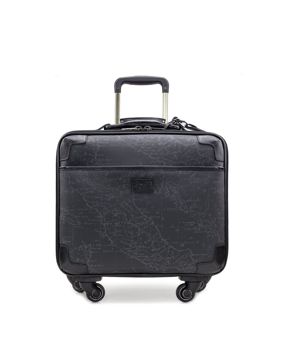 Velino Trolley - Patina Coated Linen Canvas Black Map
