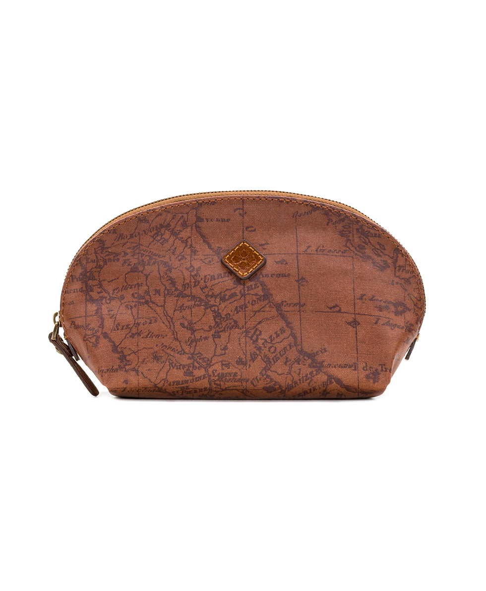 Capriana Cosmetic Case - Patina Coated Canvas Signature Map