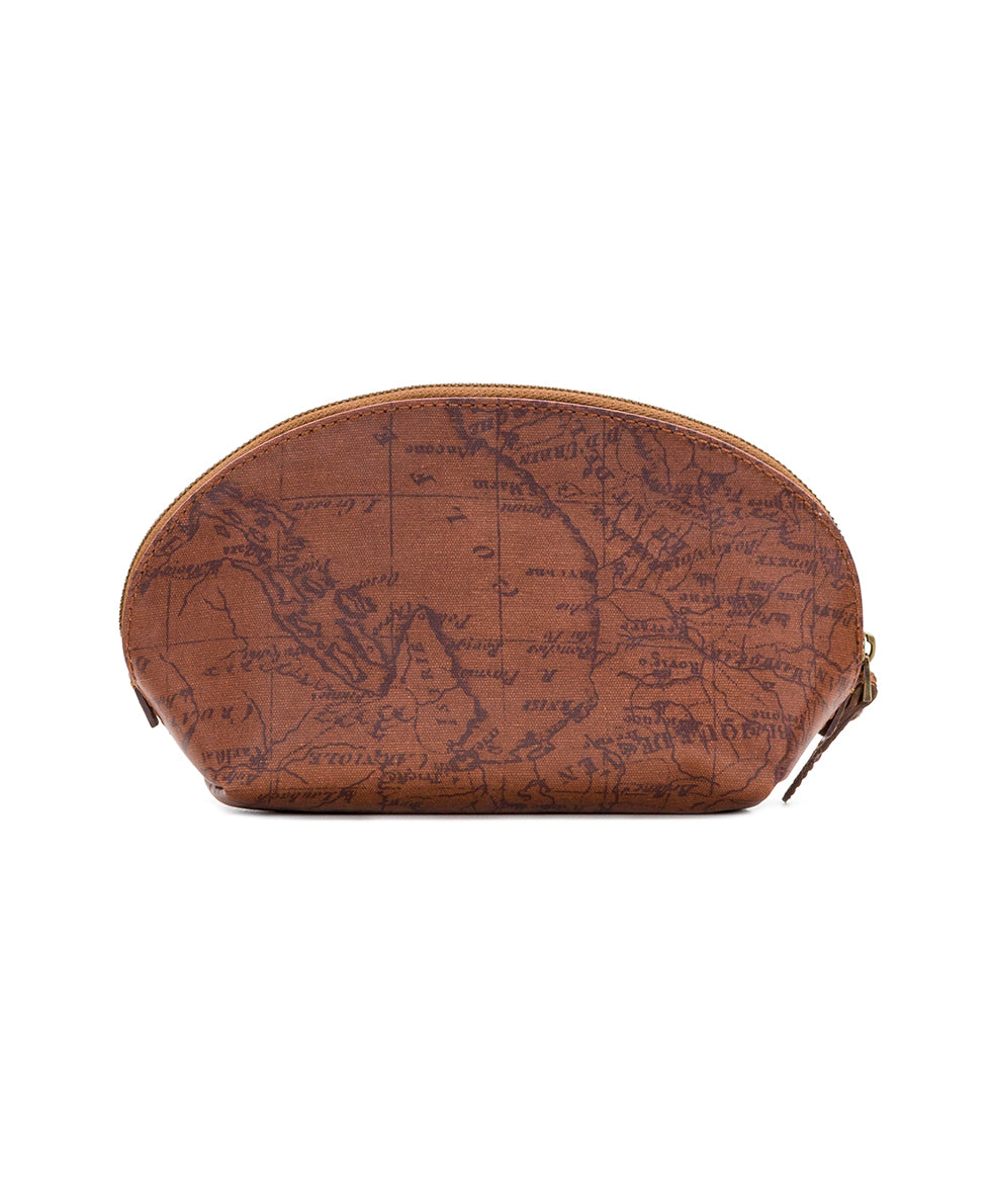 Capriana Cosmetic Case - Patina Coated Canvas Signature Map 2