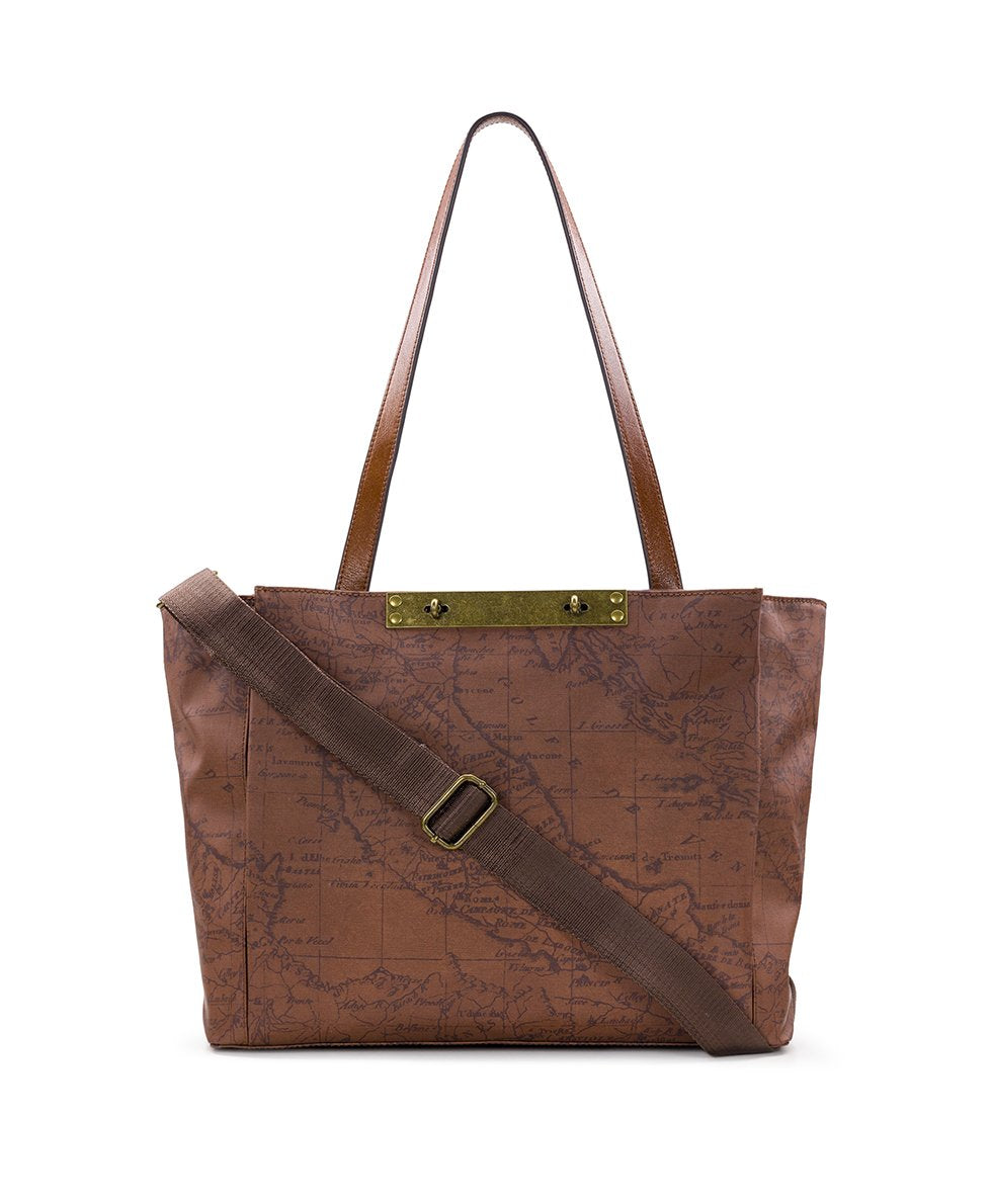 Silvi Tote - Patina Coated Canvas Signature Map