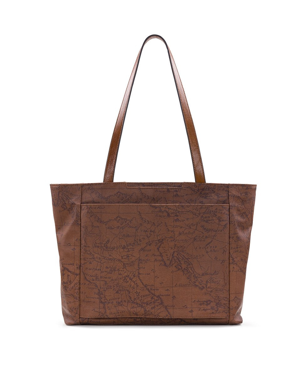 Silvi Tote - Patina Coated Canvas Signature Map 2