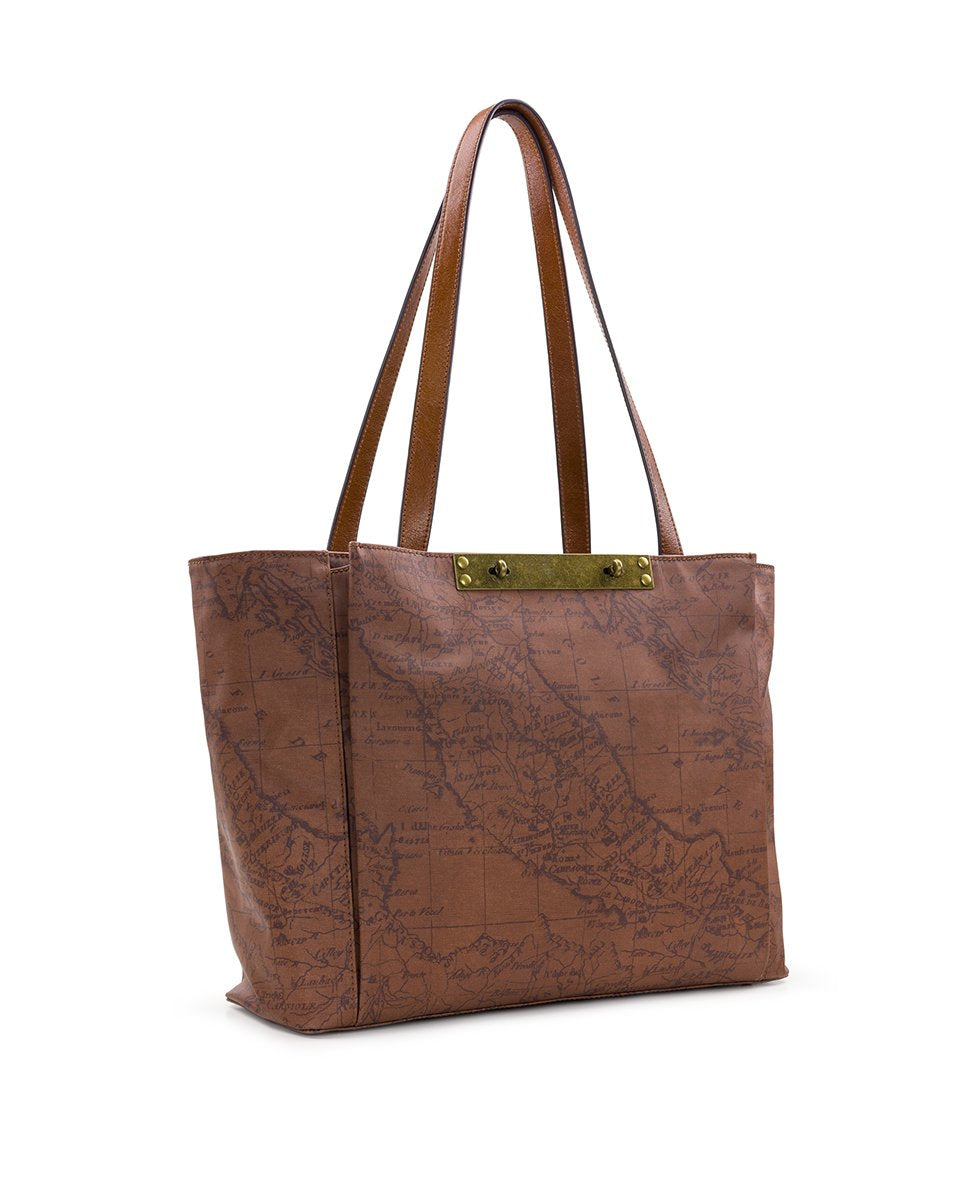 Silvi Tote - Patina Coated Canvas Signature Map 3