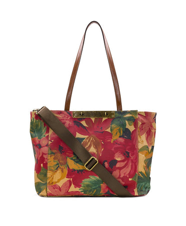 Silvi Tote - Patina Coated Canvas Spring Multi - Silvi Tote - Patina Coated Canvas Spring Multi