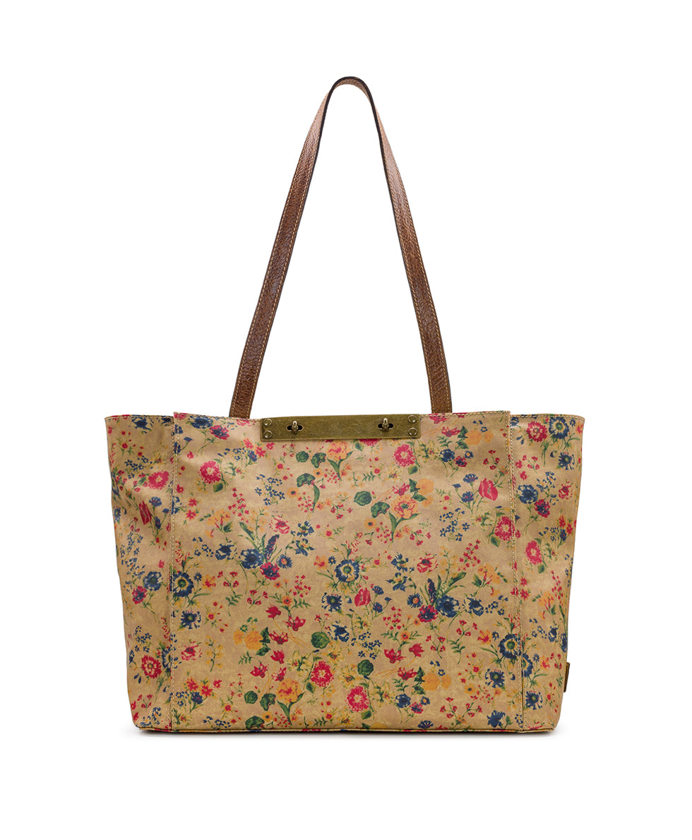 Silvi Tote - Patina Coated Linen Canvas Prairie Rose