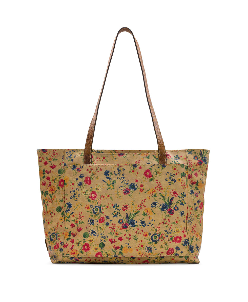 Silvi Tote - Patina Coated Linen Canvas Prairie Rose 2