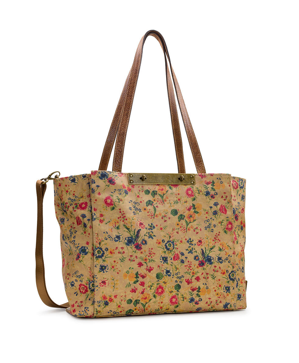 Silvi Tote - Patina Coated Linen Canvas Prairie Rose 3