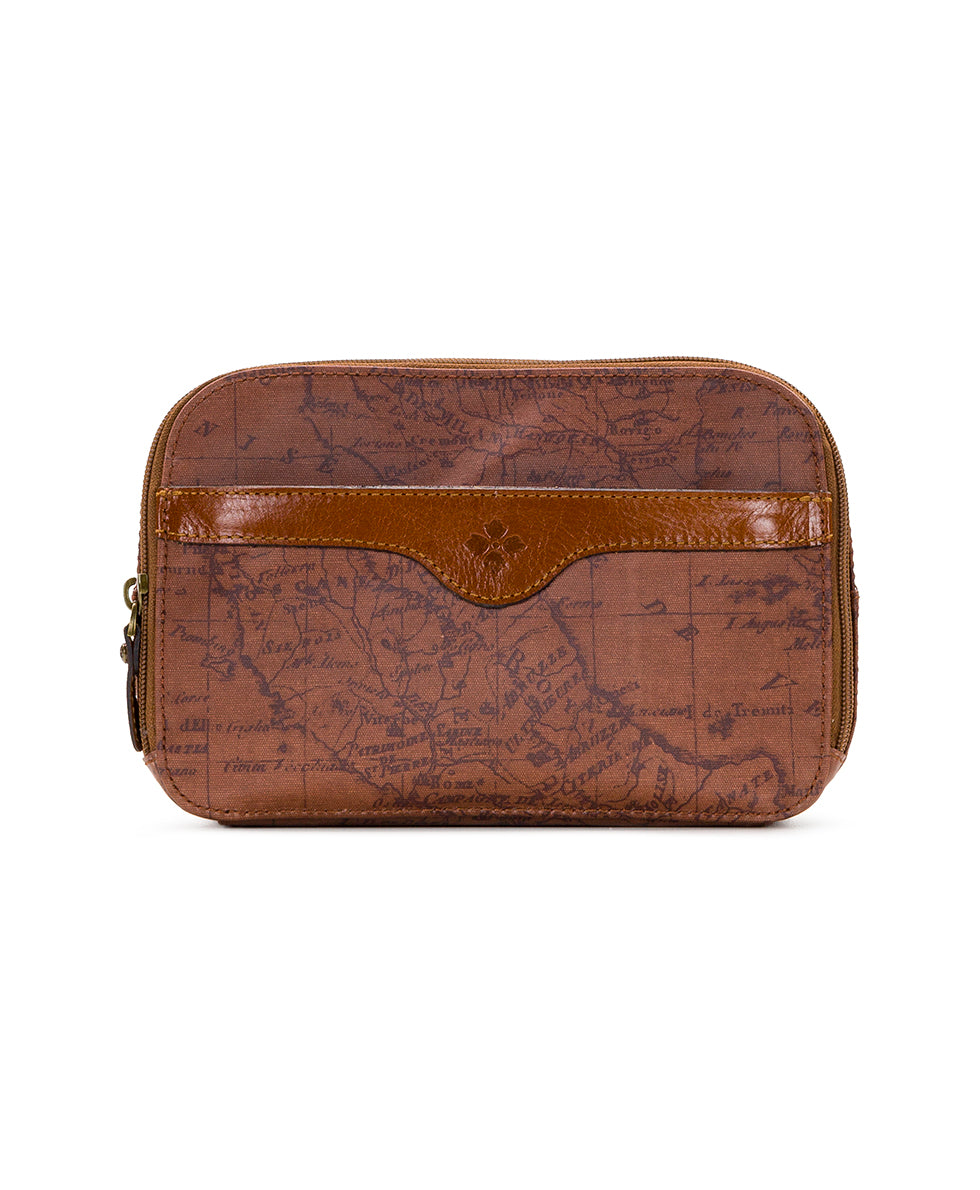 Gabella Cosmetic Pouch - Patina Coated Linen Canvas Signature Map