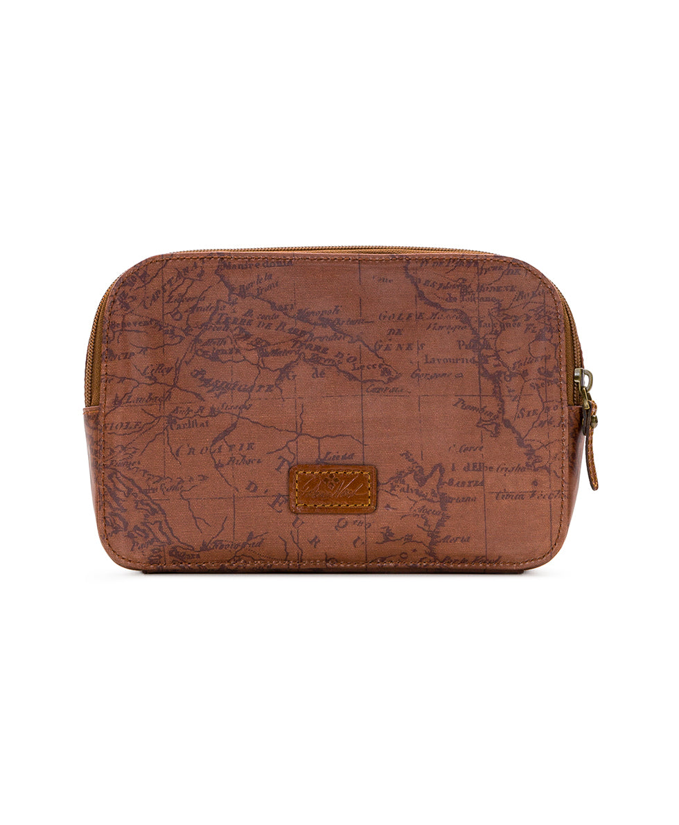 Gabella Cosmetic Pouch - Patina Coated Linen Canvas Signature Map 2