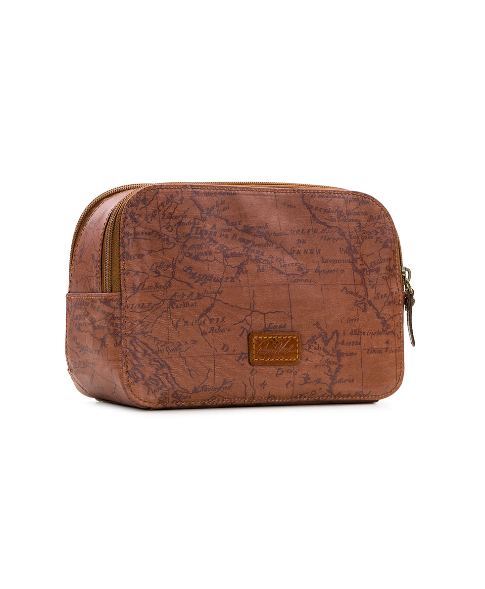 Gabella Cosmetic Pouch - Patina Coated Linen Canvas Signature Map 3