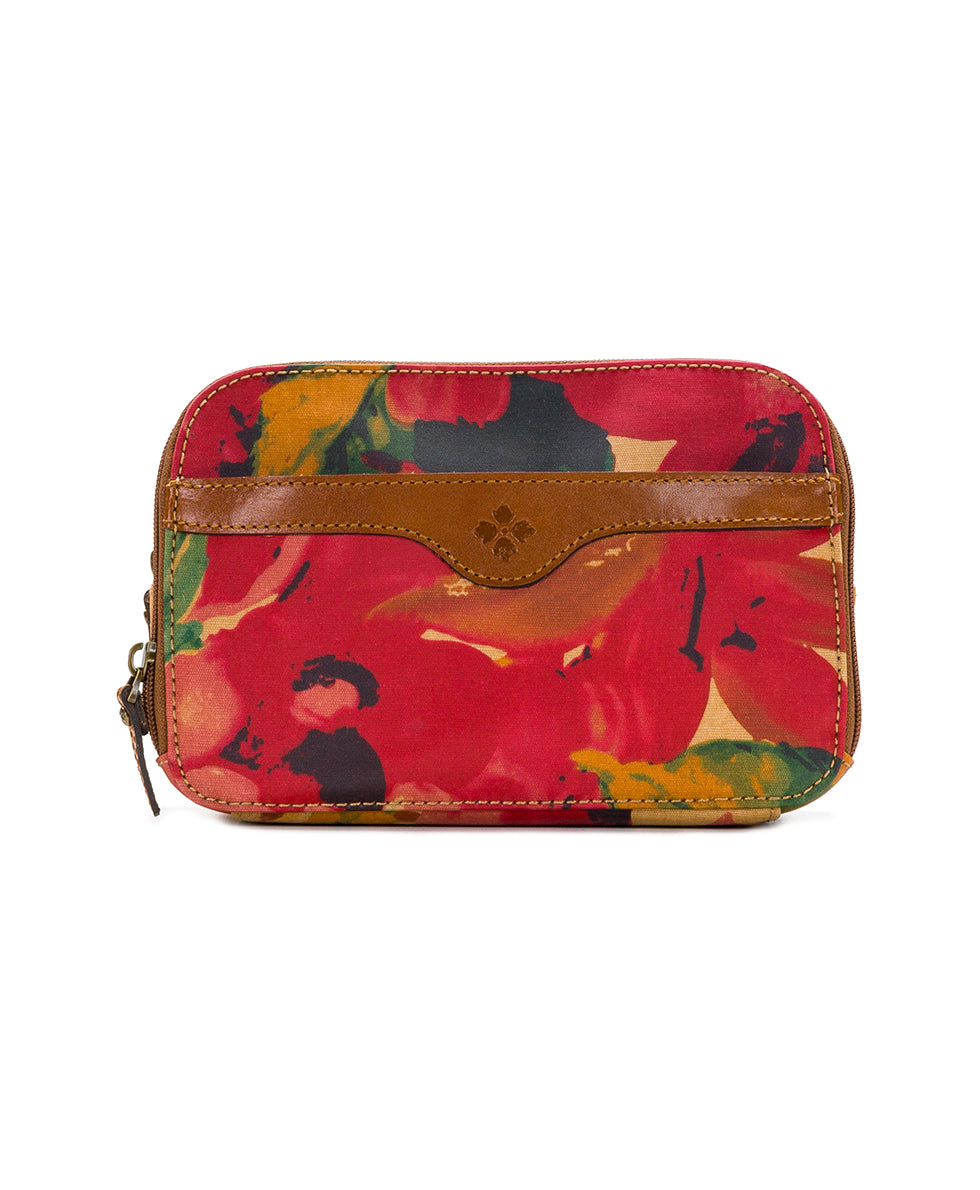 Gabella Cosmetic Pouch - Patina Coated Canvas Spring Multi