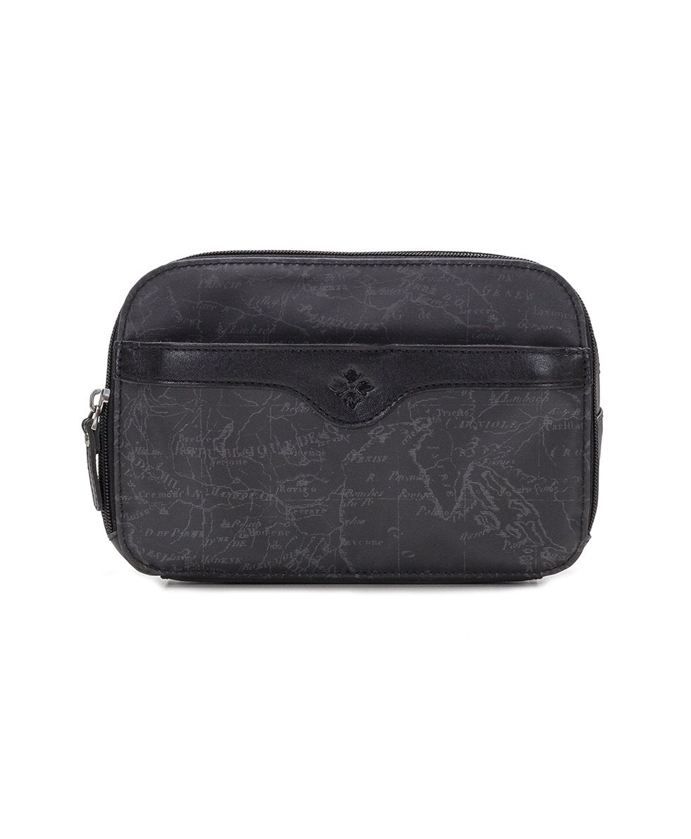 Gabella Cosmetic Pouch - Patina Coated Linen Canvas Black Map