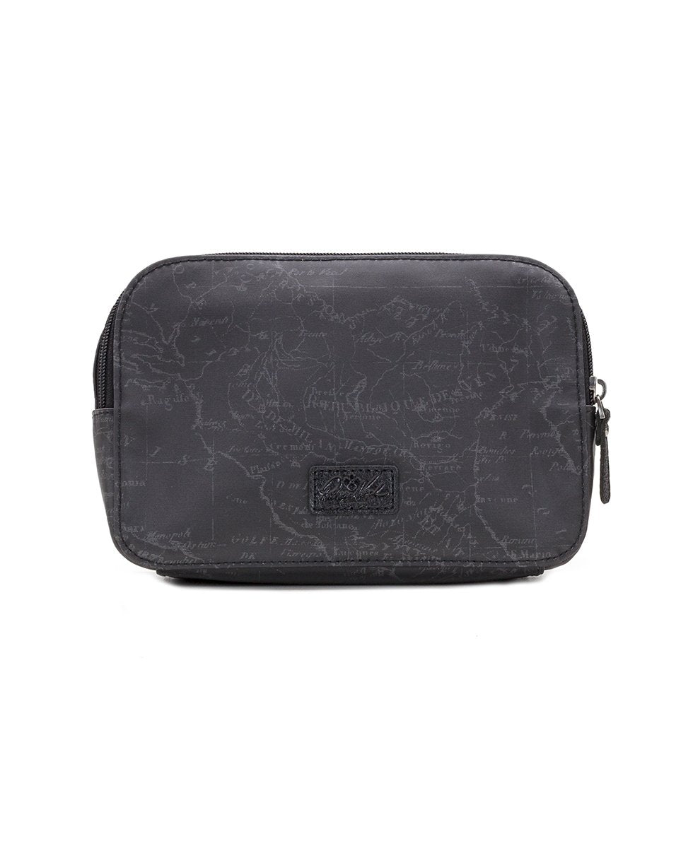 Gabella Cosmetic Pouch - Patina Coated Linen Canvas Black Map 2