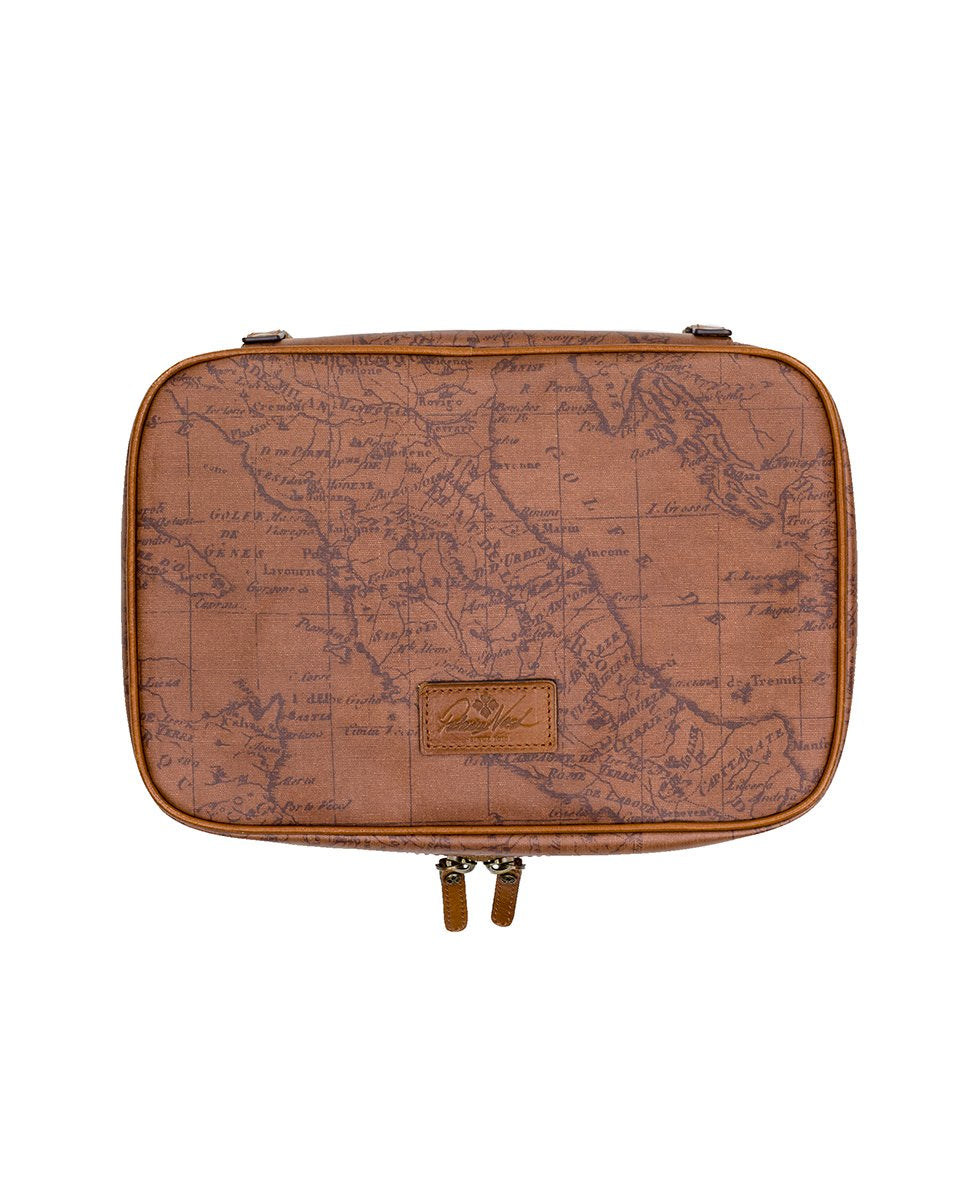 Ilaria Hanging Travel Case - Patina Coated Canvas Signature Map