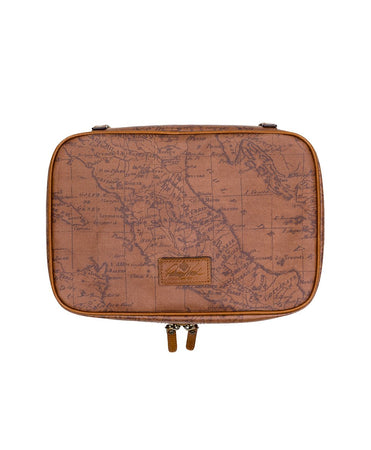 Ilaria Hanging Travel Case - Patina Coated Canvas Signature Map - Ilaria Hanging Travel Case - Patina Coated Canvas Signature Map