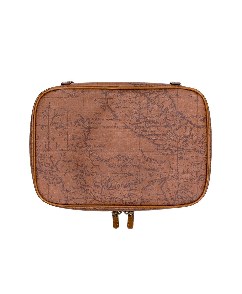 Ilaria Hanging Travel Case - Patina Coated Canvas Signature Map 2