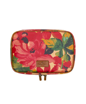 Ilaria Hanging Travel Case - Patina Coated Canvas Spring Multi