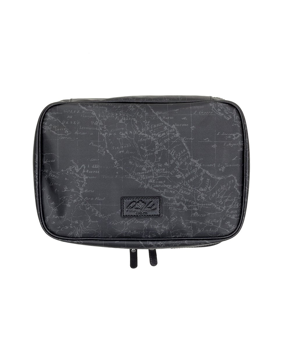 Ilaria Hanging Travel Case - Patina Coated Linen Canvas Black Map